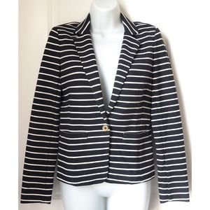 Michael Kors Navy White Striped One Button Blazer